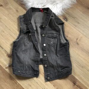 Black Denim Cutoff Vest, Size 12 - Cropped